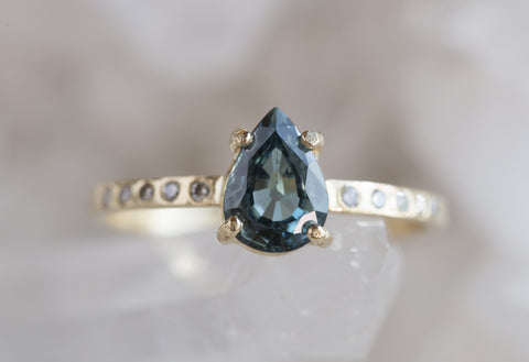 One of a Kind Natural Blue Sapphire Ring with Pavé Band