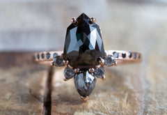 Natural Black Shield-Cut Diamond Engagement Ring with Sunburst + Pavé Band