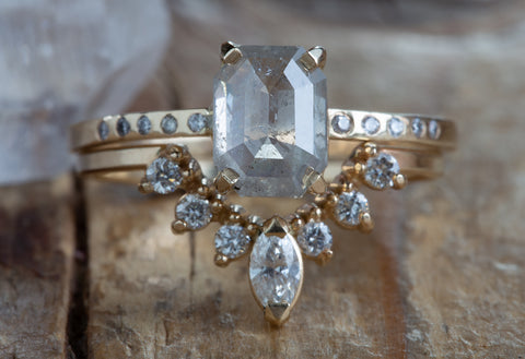 One of a Kind Silvery-Grey Emerald-Cut Diamond Engagement
