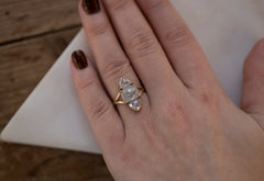 One of a Kind Triple White Rose Cut Diamond Ring