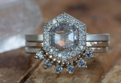 One of a Kind Silver-Blue Salt + Pepper Hexagon Diamond Engagement Ring with Halo