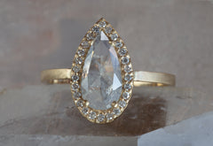 One of a Kind Opalescent Rose Cut Diamond Engagement Ring with Pavé Halo