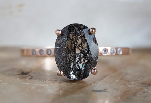 Black Tourmaline in Quartz Engagement Ring with Pavé Diamonds