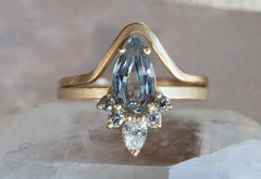 One of a Kind Grey-Blue Montana Sapphire Engagement Ring with Diamond Sunburst