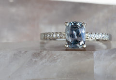 One of a Kind Cushion Cut Montana Sapphire + Diamond Engagement Ring