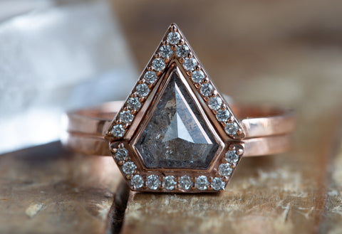 Natural Grey Shield-Cut Diamond Ring with Half Halo