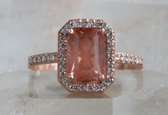 One of a Kind Emerald-Cut Sunstone with Pavé Diamond Halo and Band