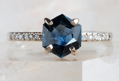 Blue Montana Sapphire Hexagon + Diamond Engagement Ring