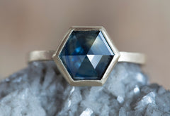 One of a Kind Australian Blue Sapphire Hexagon Ring + Diamond Band