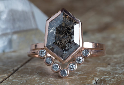 One of a Kind Shield-Cut Salt + Pepper Diamond Ring + Wedding Band