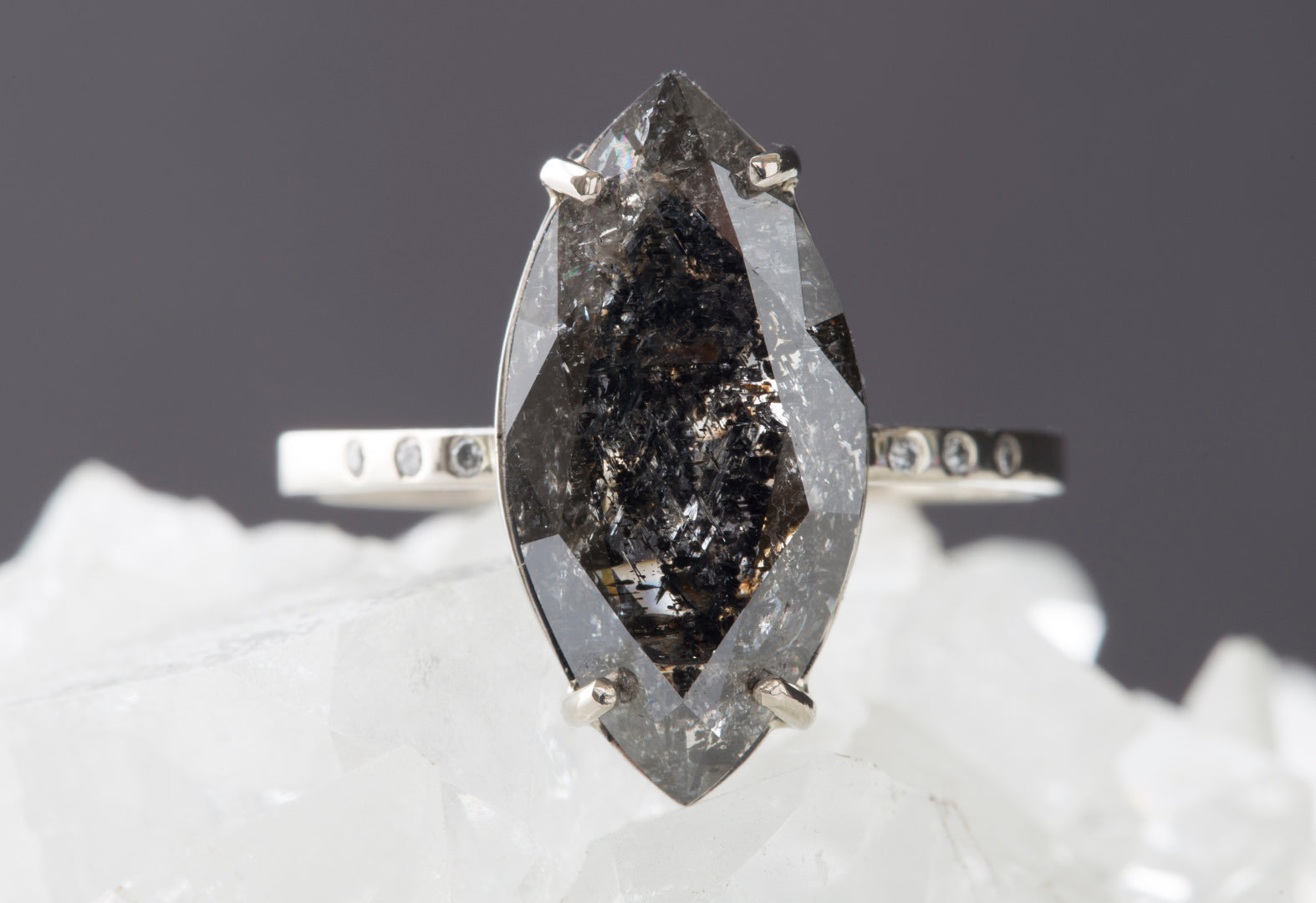 One of a Kind Natural Black Diamond Marquis Ring with Pavé Diamond Band