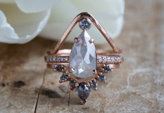 One of a Kind Opalescent Pear Rose Cut Diamond Engagement Ring Pavé Diamond Band Rose