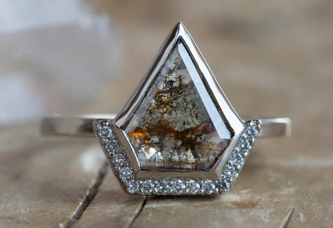 Natural One of a Kind Geometric Diamond Ring with Half Halo