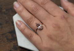 Pale Pink Morganite Ring with Pavé Diamond Half Halo