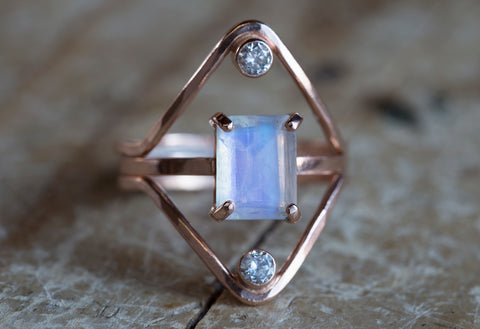One of a Kind Emerald-Cut Moonstone Ring