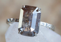 One of a Kind Natural Emerald Cut Diamond Ring