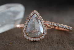 One of a Kind Natural Silver-Clear Diamond Engagement Ring with Pavé Halo
