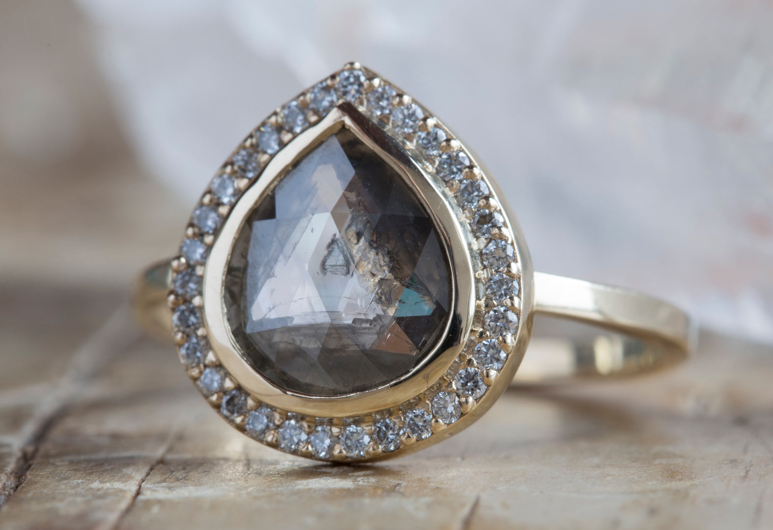 Natural Grey Salt + Pepper Rose Cut Diamond Ring with Pavé Halo