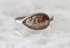 Natural Silvery-Red Rose Cut Diamond Ring