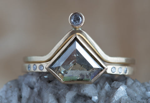 One of a Kind Geometric Diamond Engagement Ring with Pavé Band