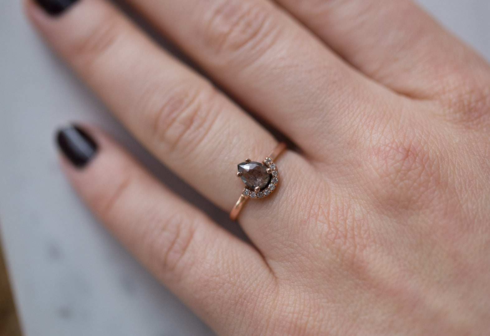 Natural Black Salt and Pepper Diamond Engagement Ring with Half Halo ...