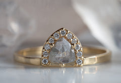 Silver Clear Rose Cut Trillion Diamond Engagement Ring