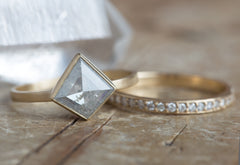One of a Kind Natural Silver-Clear Geometric Diamond Ring