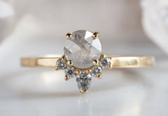 Natural Icy-White Diamond Engagement Ring with Sunburst