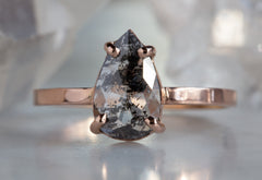 Natural Salt and Pepper Black Rose Cut Diamond Engagement Ring