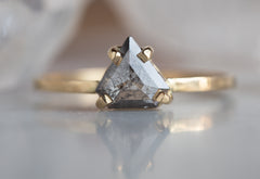 Natural Grey Sheild-Cut Diamond Engagement Ring
