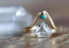 One of a Kind Opalescent Sheild-Cut Diamond Engagement Ring