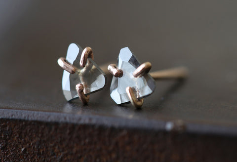 Natural Diamond Slice Stud Earrings