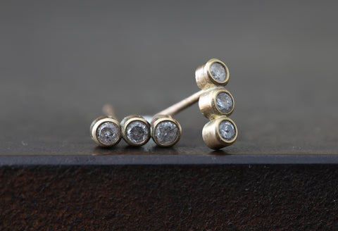 Diamond Bezel Bar Studs