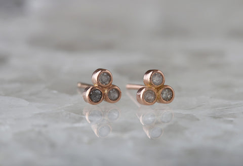 Diamond Bezel Trio Studs