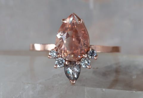 One of a Kind Sunstone + Diamond Engagement Ring