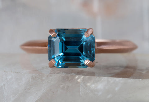 One of a Kind Emerald-Cut Montana Sapphire Engagement Ring