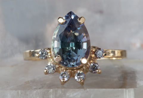 One of a Kind Natural Tanzanite + Diamond Ring