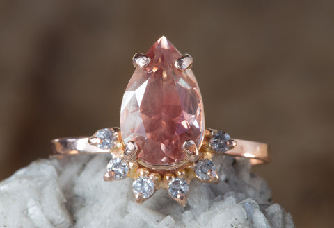 One of a Kind Natural Sunstone + Diamond Sunburst Engagement Ring