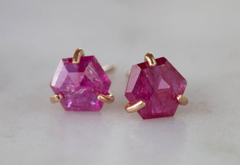 Natural Rose Cut Ruby Hexagon Studs