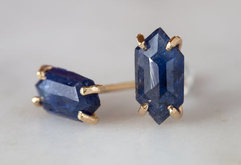 Natural Rose Cut Blue Sapphire Hexagon Studs