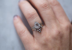 White Rose Cut Diamond Engagement Ring with Pave Halo