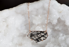 Geometric Rose-Cut Tourmaline in Quartz Necklace