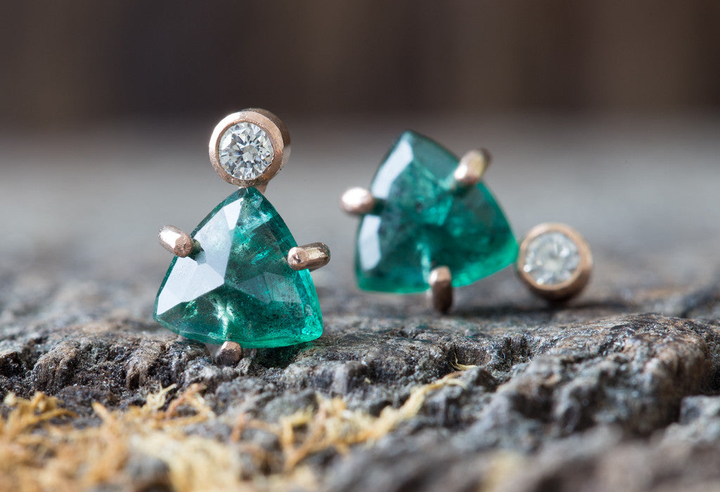 Limited Edition Natural Emerald + Diamond Stud Earrings