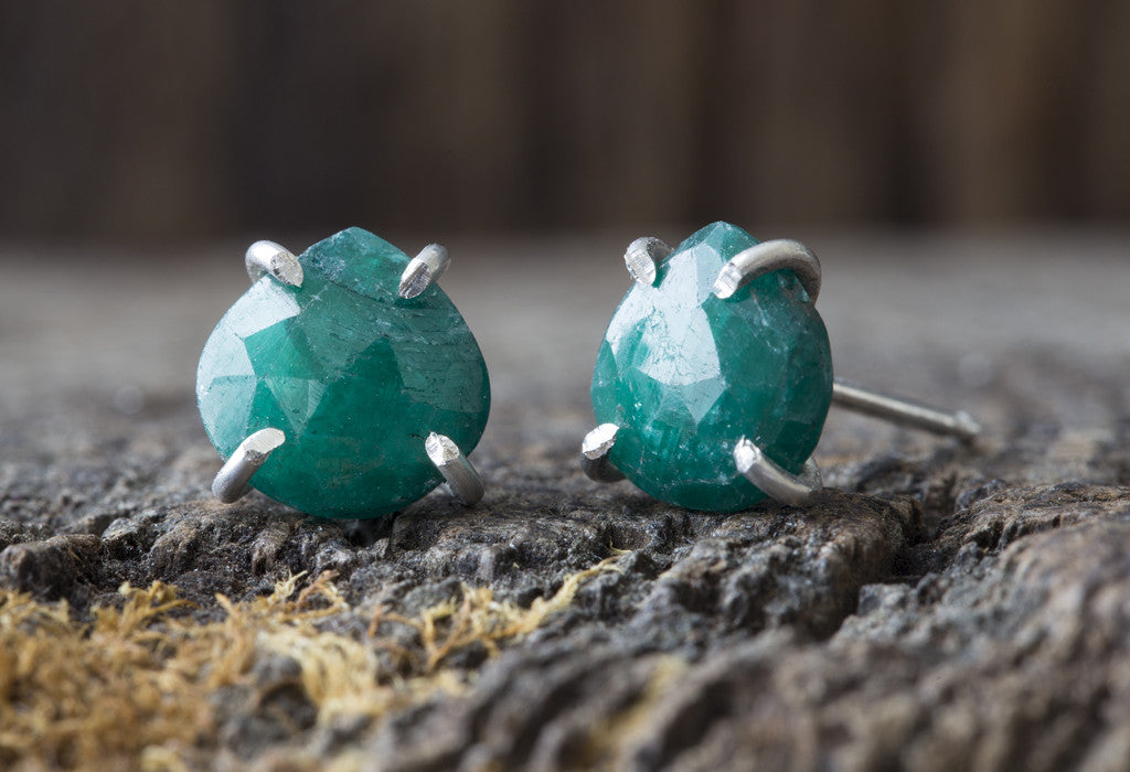 Natural Rose Cut Emerald Stud Earrings