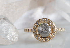 One of a Kind Salt + Pepper Galaxy Diamond Ring with Pavé Halo + Band
