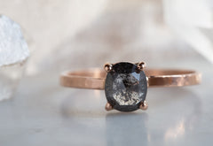 Natural Black Oval Rose-Cut Diamond Ring