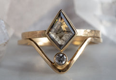 One of a Kind Geometric Step-Cut Diamond Engagement Ring