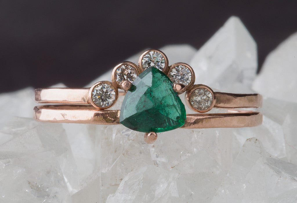 Natural Trillion Emerald Ring