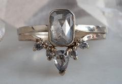 One of a Kind Silver-Grey Emerald-Cut Diamond Engagement Ring