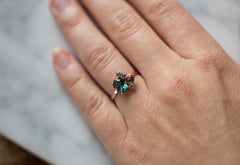 Teal Tourmaline, Pink Sapphire + Diamond Cluster Ring